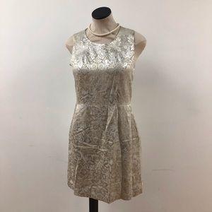 DKNY Silver & Ivory Sleeveless Sheath Dress